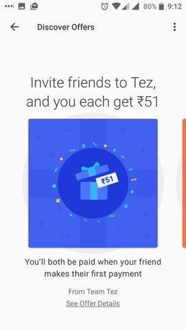 Google Tez offers