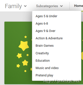 Google family store sort