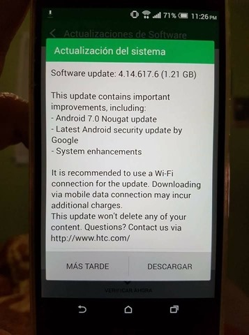 HTC One M9 Android 7.0 Nougat