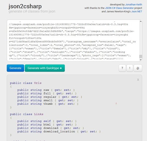 How to convert JSON Text to CSharp Class