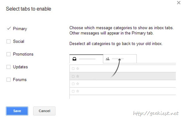 How to disable or enable tabs on Gmail