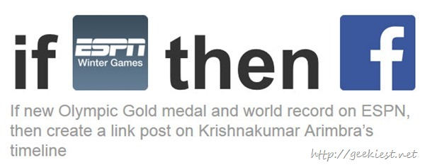 If new Olympic Gold medal and world record then create a link post on Facebook