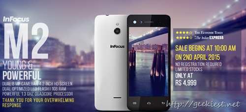 InFocus M2–Sale starts on April 2, 2015