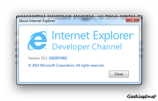 Internet Explorer Developer Channel 1