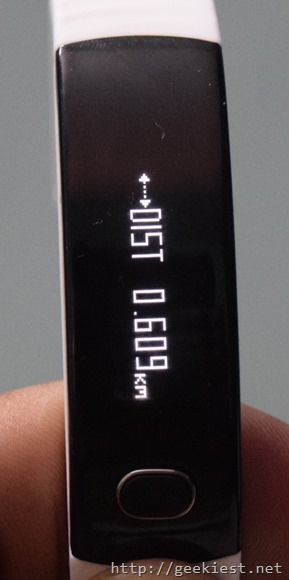 Intex FirRist fitness band distance display