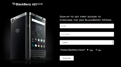 KEYone Registration