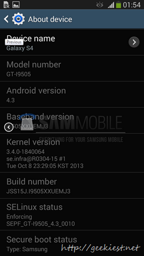 Leaked Android 4.3 test firmware for Galaxy S4