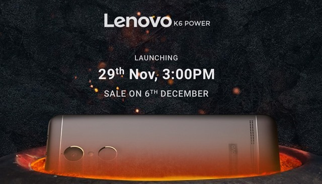 Lenovo K6 Power India launch date