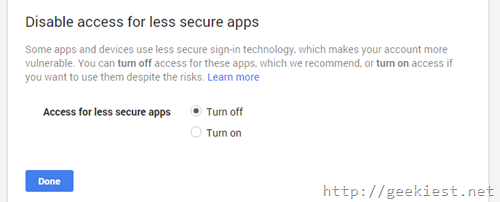 Less secure app access