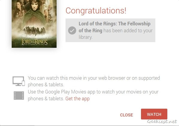 Lord Of The Rings Google Play Movies Added to Your Library