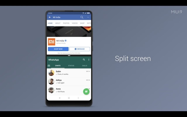 MIUI 9 Split Screen