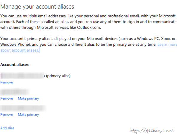 Manage outlook Aliases