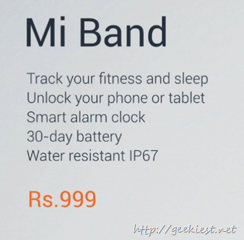 Mi Band specifications
