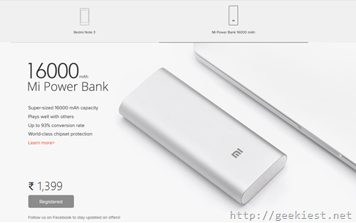 Mi powerbank 16000mAh and Redmi Note 3–register for the sale on 16th March now