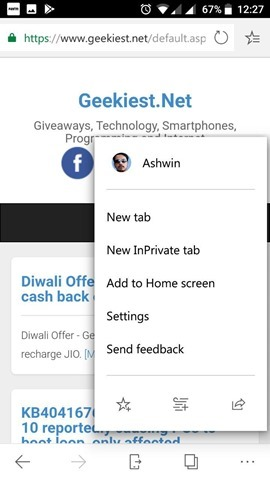 Microsoft Edge for Android settings 2