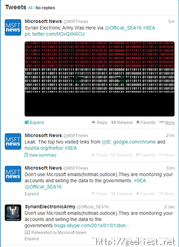Microsoft News Twitter account hacked by SEA