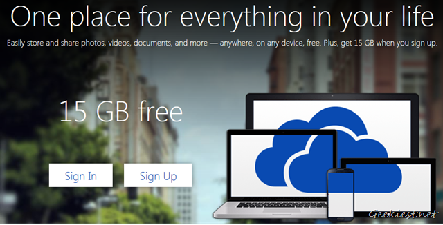 Microsoft OneDrive 15 GB Free Could Storage Space