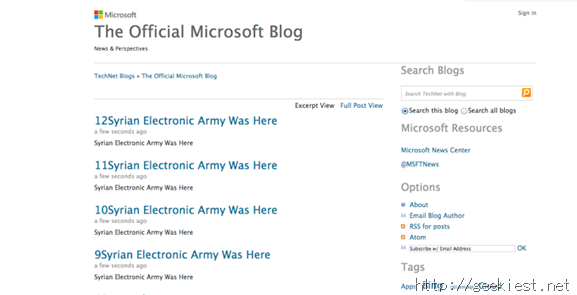 Microsoft TechNet Blog hacked by SEA