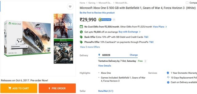 Microsoft Xbox One S India a
