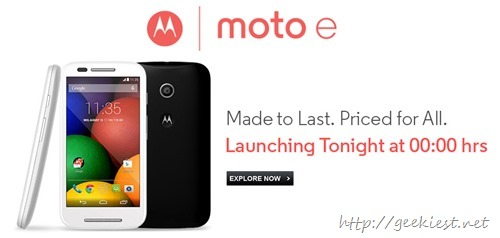 Moto E–launching today in India for INR 6999