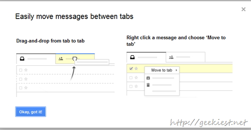 Move messages from tabs by just drag and drop