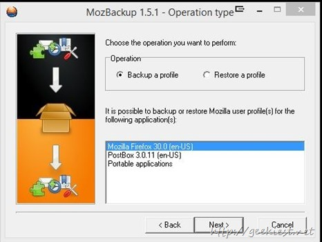 Mozbackup installed applications