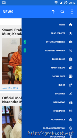 Narendra Modi Android App Screen shot