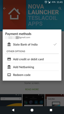 Netbanking payment option for Google Play Store