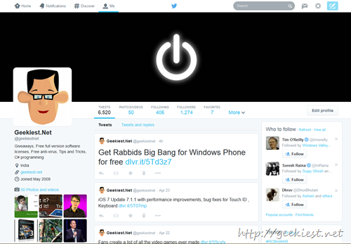 New Twitter profile design