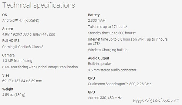 Nexus 5 Specifications