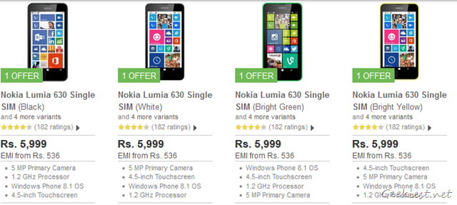 Nokia Lumia 630 Single SIM Flipkart