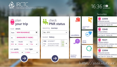 Official IRCTC App for Windows 8  screenshot