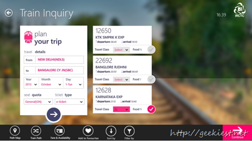 Official IRCTC App for Windows 8  screenshot 2