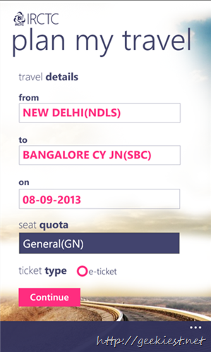 Official IRCTC App for Windows phones Book ticket