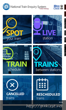 Official National Train Enquiry System Application for Windows Phone