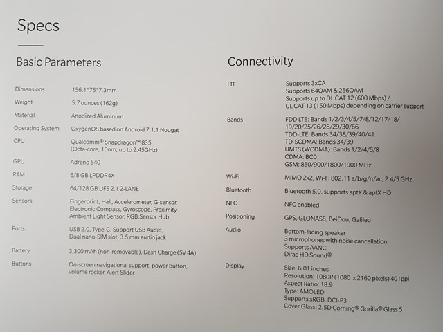 OnePlus 5T leaked real-life photos technical specifications