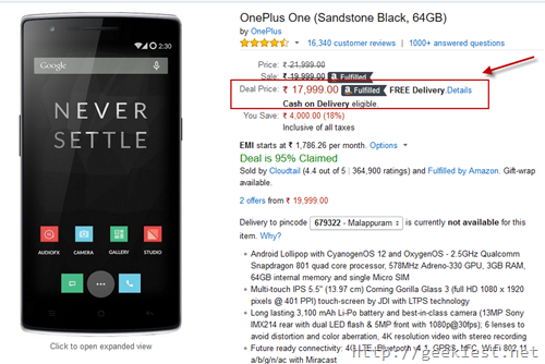 OnePlus one 64Gb discount Sale