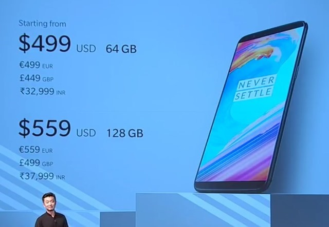 Oneplus 5T official price India US UK Europe
