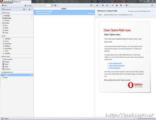 Opera Mail a free light weight Mail Client