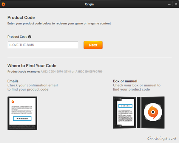 Origin - Redeem Product Code - Step 2