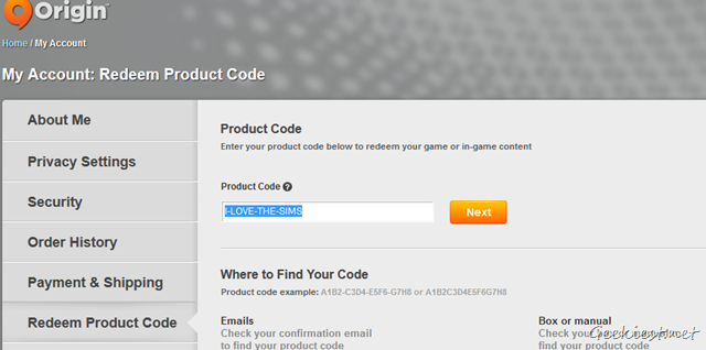 Origin - Redeem Product Code on the Website