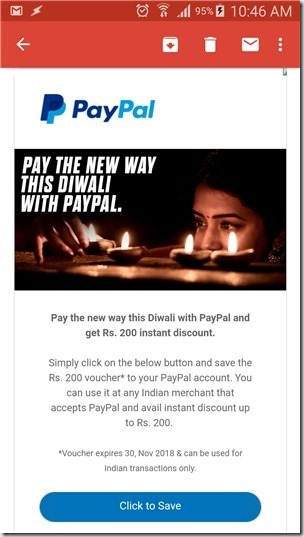 PayPal India Diwali Gift voucher