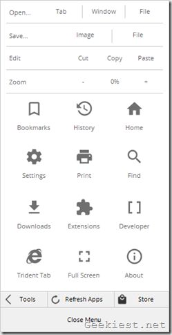 Polarity web browser menu