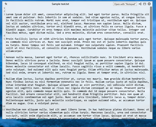 Preview text file