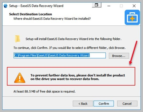 Recovery software installation location