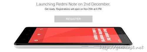 Redmi Note - Registrations will open today