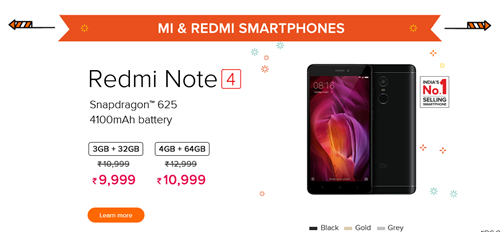 Redmi Note 4 Discount Sale Diwali