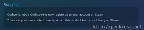 Registered to steam