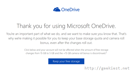 Retain free one drive storage