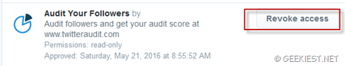 Revoke permission twitter audit